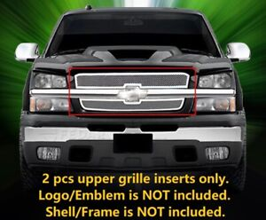 Stainless Mesh Grille Front Upper Grill For 2003 2005 Chevy Silverado Avalanche