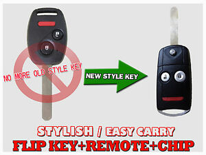 New Flip Key Remote Fob Chip Transponder For 07 08 09 10 11 Civic