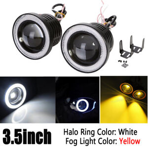 Universal 3 5inch Led Yellow Fog Light With White Angel Eyes Halo Ring Drl 12v
