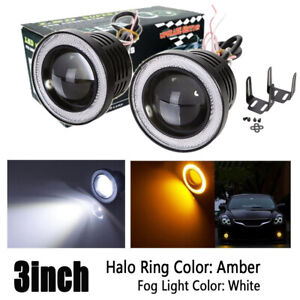 Universal 3inch Led Projector Fog Light Round Amber Angel Eye Halo Ring Truck