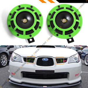 Neon Green 12v Electric Compact Blast Loud Hi Low Grill Mount Horn For Subaru