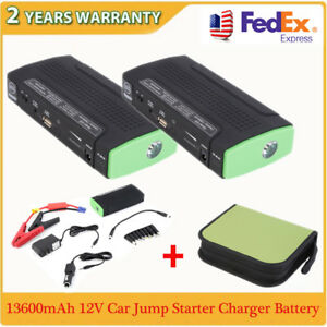 2x 13600mah 12v Multi function Car Power Bank Battery Charger Booster Jump Start