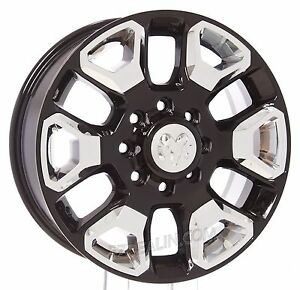 New Set Of Four 20 Dodge Ram 2500 3500 Gloss Black W Chrome Wheels Rims