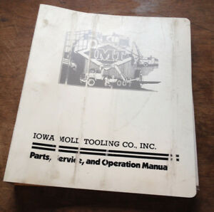 Iowa Mold Tooling Imt Crane Parts Service Shop Operation Manual Catalog Rev