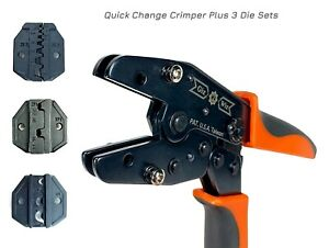 Quick Change Ratchet Crimp Tool 3 Die Sets Flag Pin Ring Terminal Awg20 6