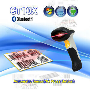 Automatic Bluetooth Laser 1d Barcode Scanner Usb Data Reader For Pc Android Ios