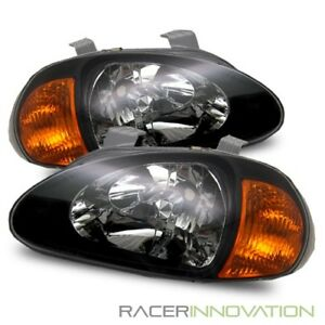For 93 97 Honda Del Sol 1 Piece Jdm Black Crystal Headlights Amber Corner Lamps