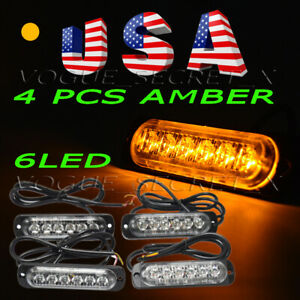 4x 18w Cree 6led Blue Ultra Thin Flash Emergency Hazard Warning Strobe Light Us