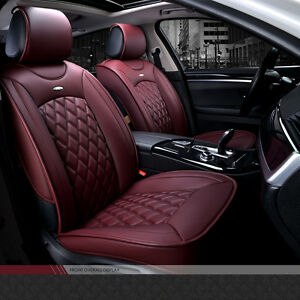 Luxury Wine Red Full Seat Pu Leather 3d Surround Car Seat Cover Set Cushion Pad