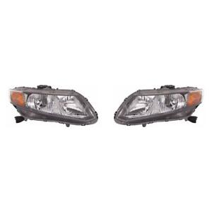 Fits 2012 Honda Civic Sedan coupe Headlight Capa Pair Ho2502144c ho2503144c