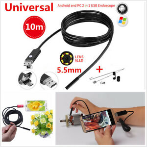 10m 5 5mm Android Endoscope Snake Borescope Car Usb Inspection Camera 6led Ip67