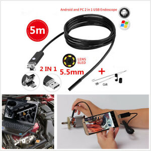2in1 5m 5 5mm 6led Hd Endoscope Waterproof Snake Borescope Usb Inspection Camera