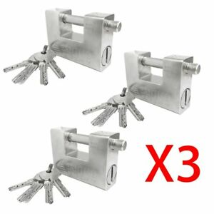 3x 94mm Heavy Duty Padlock High Security Container Warehouses Garage 5key Vip