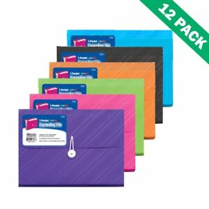 Expandable File Folder Poly Expanding File Organizer With 7 Pockets 12 Units