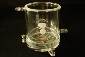 Buchler Pyrex 1000ml Jacketed Glass Reaction Beaker With Stir Plate Mount