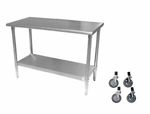 Work Prep Table 24 X 60 With Casters Wheels Stainless Steel