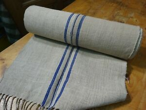 A Homespun Linen Hemp Flax Yardage Blue Stripes 13 Yards X 20 9591