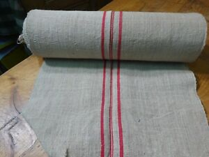 A Homespun Linen Hemp Flax Yardage 13 Yards X 20 Red Stripes 9593