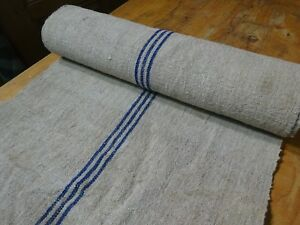 A Homespun Linen Hemp Flax Yardage 6 Yards X 22 Blue Stripes 9602