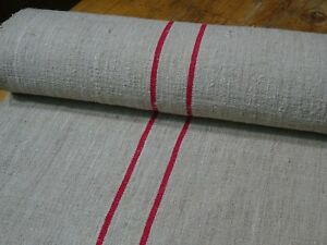 A Homespun Linen Hemp Flax Yardage 7 Yards X 21 Red Stripes 9604