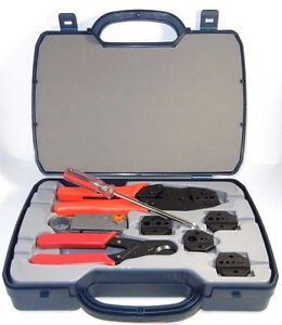 Coaxial Crimping Tool Kit Crimper Cutter Stripper 5 Interchangeable Dies