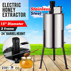 2 Frame Electric Honey Extractor 2 Clear Lids 120 W Motor Plastic Gate Good