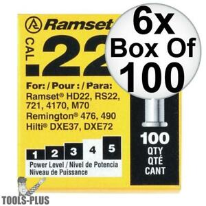 Ramset 42cw 6pk Boxes Of 100 4 yellow 22 Cal Single Shot Loads New