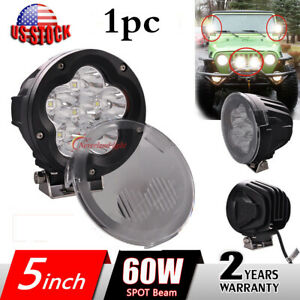 5 Inch 60w Cree Led Work Light Spot Beam Offroad Driving Round Fog Lamp Cover