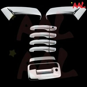 Aal For Silverado Sierra 2014 2018 Chrome Covers Half Mirrors 4 Doors Tailgate