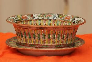 Antique Chinese Rose Medallion Fruit Bowl And Tray