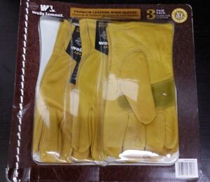 Wells Lamont Premium Cowhide Leather Work Gloves 3 Pair Pack Size Xl