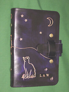 Compact 0 75 Cat At Midnight Purple Leather Cordwain Higgler Planner Oberon