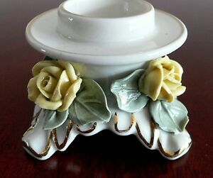 Vintage Dresden Porcelain Candle Holder Yellow Roses Alka Germany 1950 S N R