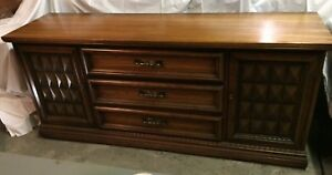 Vintage Antique Triple Dresser With Mirror Honey Maple