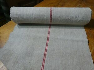 A Homespun Linen Hemp Flax Yardage 11 Yards X 22 Red Stripes 9771