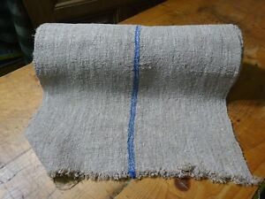 A Homespun Linen Hemp Flax Yardage 11 Yards X 20 Blue Stripes 9772