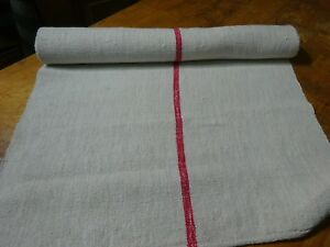 A Homespun Linen Hemp Flax Yardage 3 Yards X 23 Red Stripes 9775