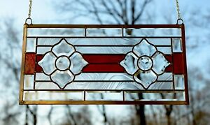 Handcrafted Stained Glass Red Clear Beveled Flowers Window Panel 11 X 22