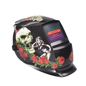 Hobart Welding Helmet With Striking Red Rose Skull Design Graphic