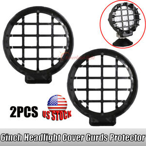 2x Snap On Black Stone Guard Cover For 6 Inch 70w Round Led Work Light Offroad