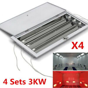 3kw Spray Baking Booth Infrared Car Body Paint Curing Heating Lamp Heater 4 Sets
