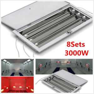 8x 3kw Spray Baking Booth Oven Infrared Paint Curing Lamps Heating Lights Heater