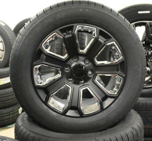 Gmc 20 Satin Black And Chrome Wheels Tires 2000 2018 Yukon Sierra Denali