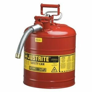 5 Gal Red Galvanized Steel Type Ii Safety Can For Flammables Justrite 7250130