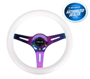 Nrg Steering Wheel White Wood Grain 310mm 3 Spoke Neo Chrome St 310mc Wt