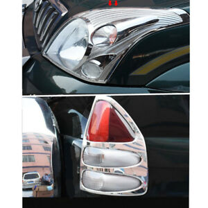 For Toyota Prado Fj120 2003 2009 Chrome Front Head Light Rear Light Cover Trim