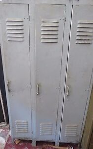 Vintage Three Door Industial Military Steampunk School Locker Heavy Duty Loft