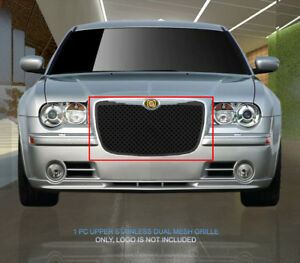 Black Stainless Steel Dual Mesh Grille Grill For Chrysler 300 300c 2005 2010