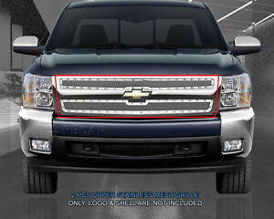 Polished Mesh Grille Rivet Grill For 99 02 Chevy Silverado 00 06 Suburban Tahoe