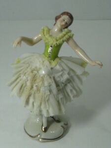 5 Vintage Dresden Germany Porcelain Lace Ballet Dancer Figure Figurine